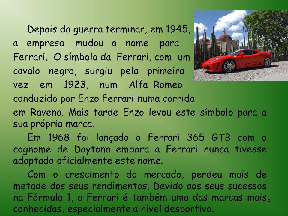 8 Depois da guerra terminar, em 1945, a empresa mudou o nome para Ferrari.