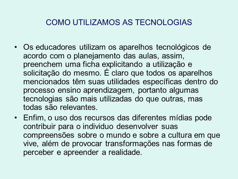 COMO UTILIZAMOS AS TECNOLOGIAS Os educadores utilizam os aparelhos tecnológicos de acordo com o planejamento das aulas, assim, preenchem uma ficha explicitando a utilização e solicitação do mesmo.