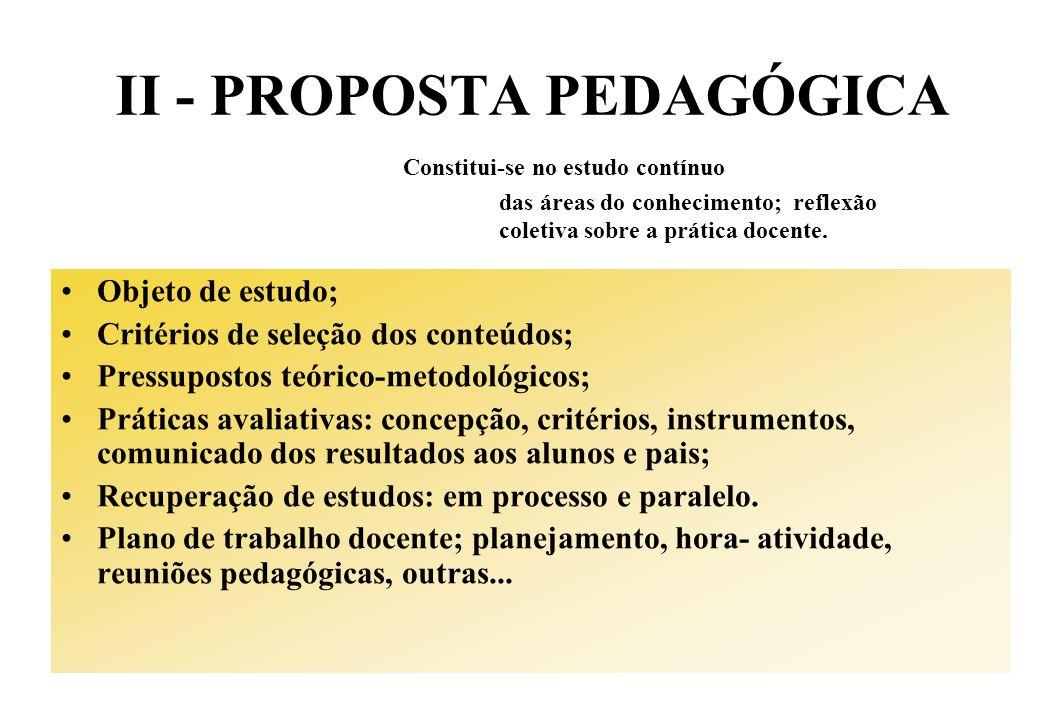 II - PROPOSTA PEDAGÓGICA Constitui-se no estudo contínuo das áreas do conhecimento; reflexão coletiva sobre a prática docente. Objeto de estudo; Crité