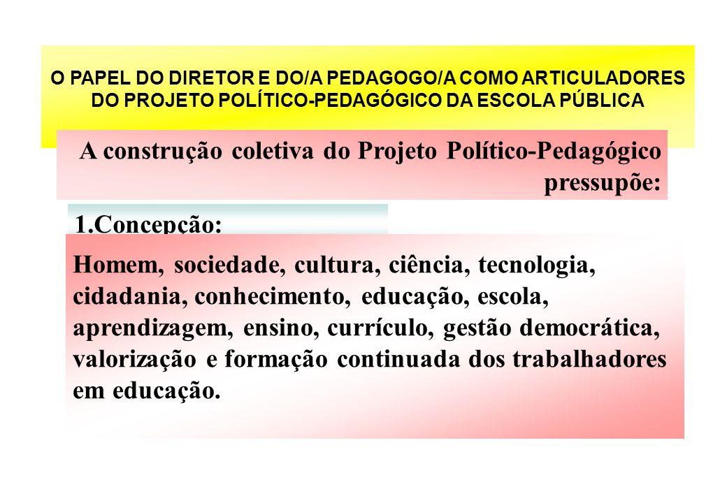 O PAPEL DO DIRETOR E DO/A PEDAGOGO/A COMO ARTICULADORES DO PROJETO POLÍTICO-PEDAGÓGICO DA ESCOLA PÚBLICA A construção coletiva do Projeto Político-Ped