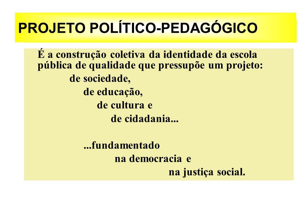 PROJETO POLÍTICO-PEDAGÓGICO É a construção coletiva da identidade da escola pública de qualidade que pressupõe um projeto: de sociedade, de educação,