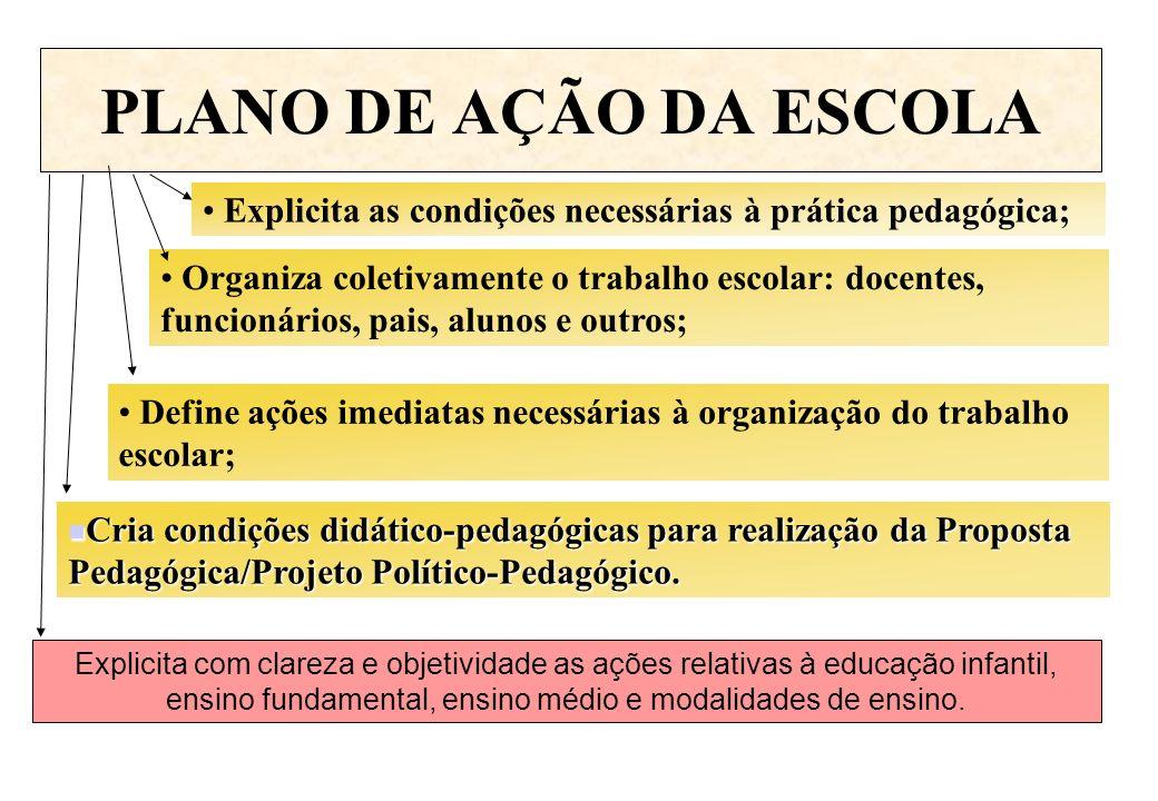 PLANO DE AÇÃO DA ESCOLA Explicita as condições necessárias à prática pedagógica; Organiza coletivamente o trabalho escolar: docentes, funcionários, pa