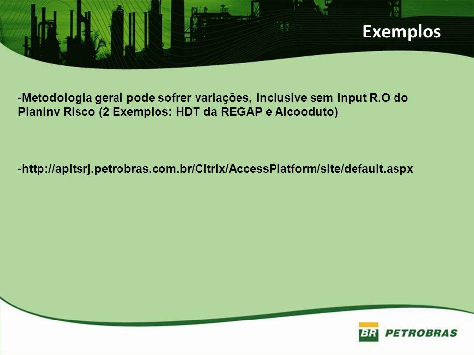 Exemplos -Metodologia geral pode sofrer variações, inclusive sem input R.O do Planinv Risco (2 Exemplos: HDT da REGAP e Alcooduto) -http://apltsrj.pet