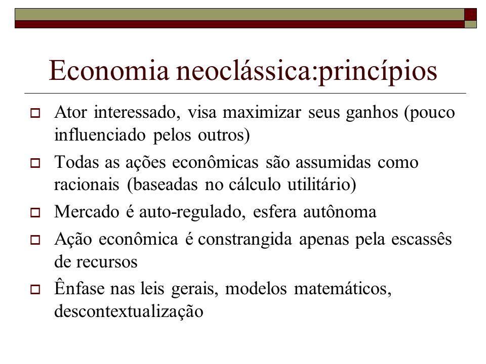 Economia neoclássica:princípios Ator interessado, visa maximizar seus ganhos (pouco influenciado pelos outros) Todas as ações econômicas são assumidas
