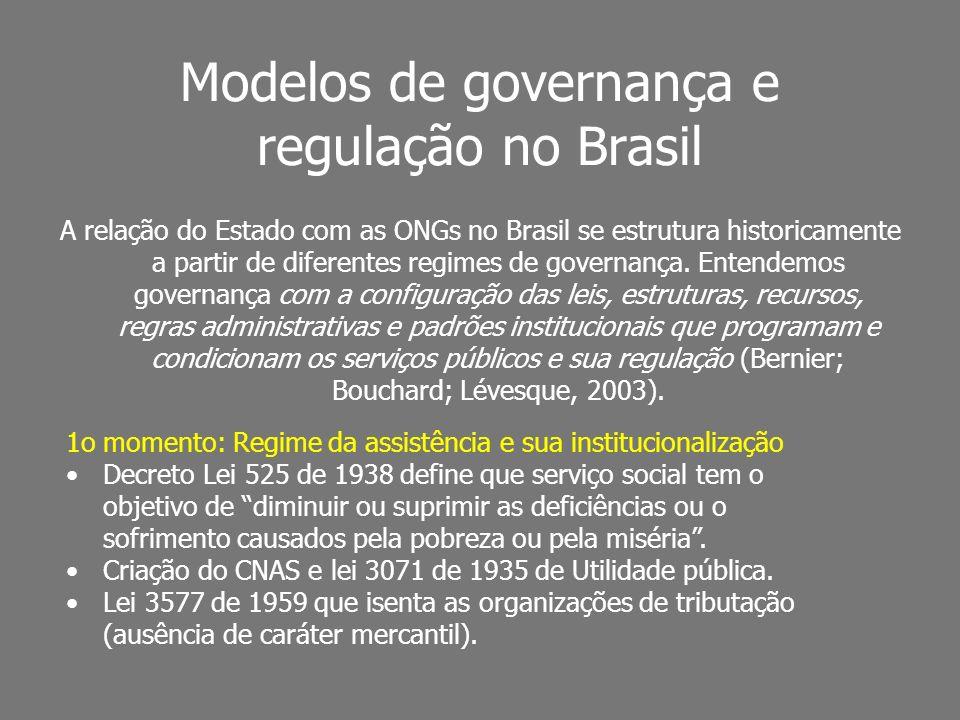 Modelos de governança e regulação no Brasil A relação do Estado com as ONGs no Brasil se estrutura historicamente a partir de diferentes regimes de go