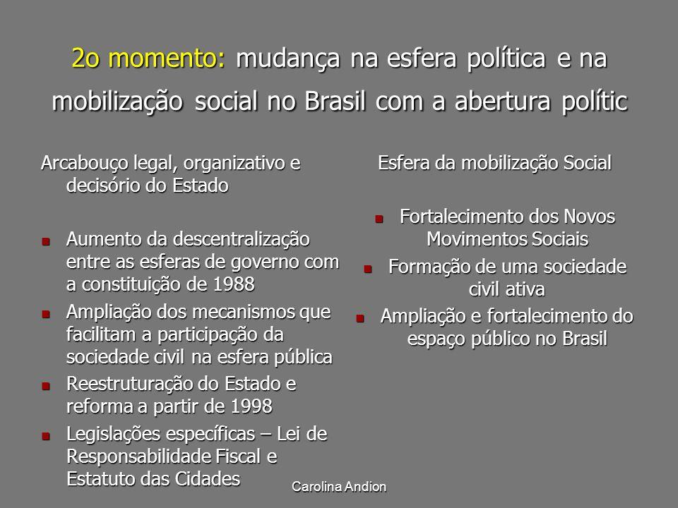 Carolina Andion 2o momento: mudança na esfera política e na mobilização social no Brasil com a abertura polític Arcabouço legal, organizativo e decisó