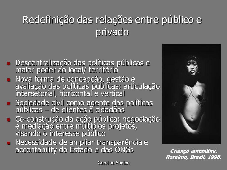 Carolina Andion Redefinição das relações entre público e privado Descentralização das políticas públicas e maior poder ao local/ território Descentral