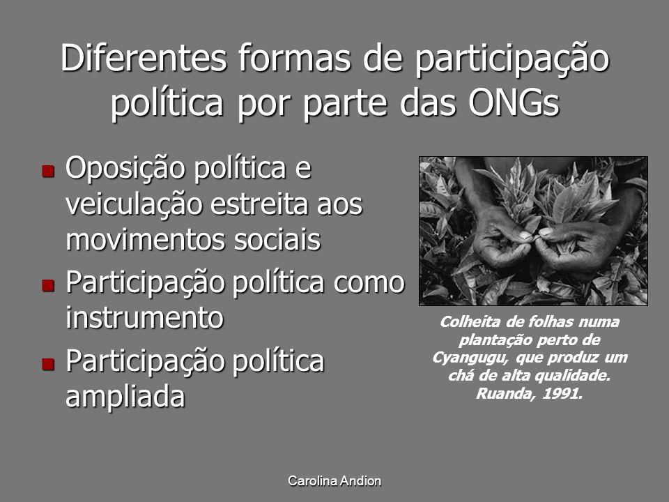 Carolina Andion Diferentes formas de participação política por parte das ONGs Oposição política e veiculação estreita aos movimentos sociais Oposição