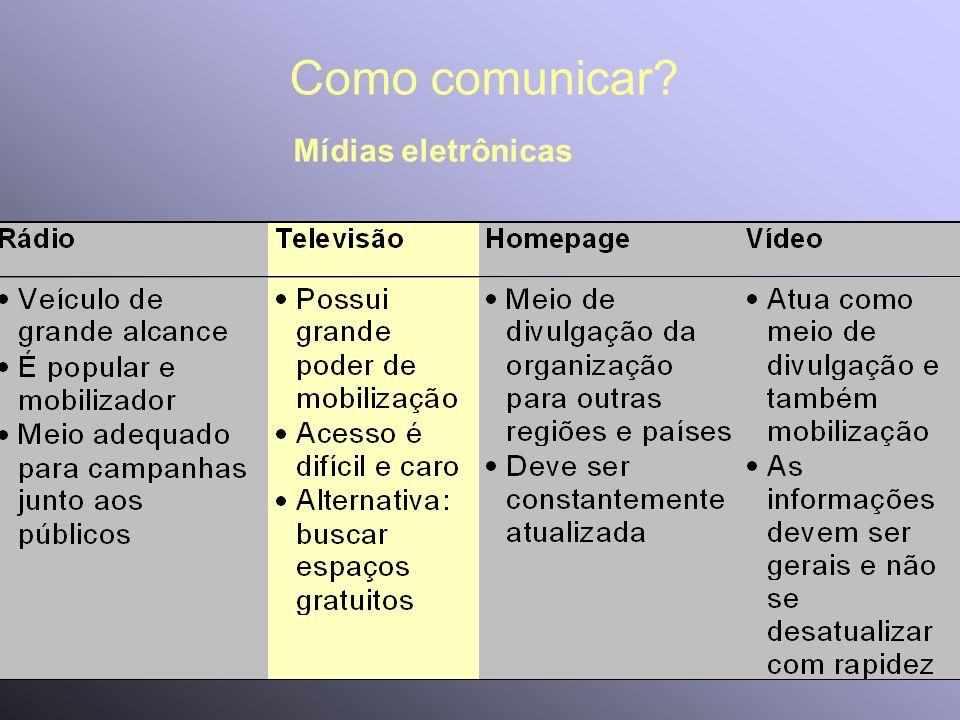 Como comunicar? Mídias eletrônicas