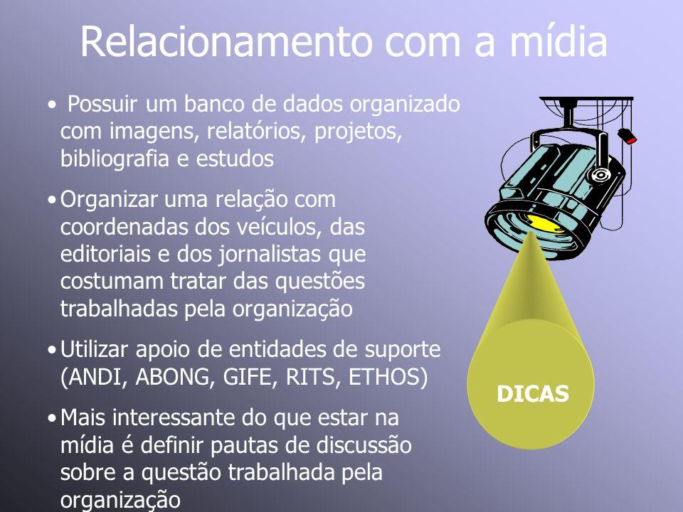 Relacionamento com a mídia DICAS Possuir um banco de dados organizado com imagens, relatórios, projetos, bibliografia e estudos Organizar uma relação