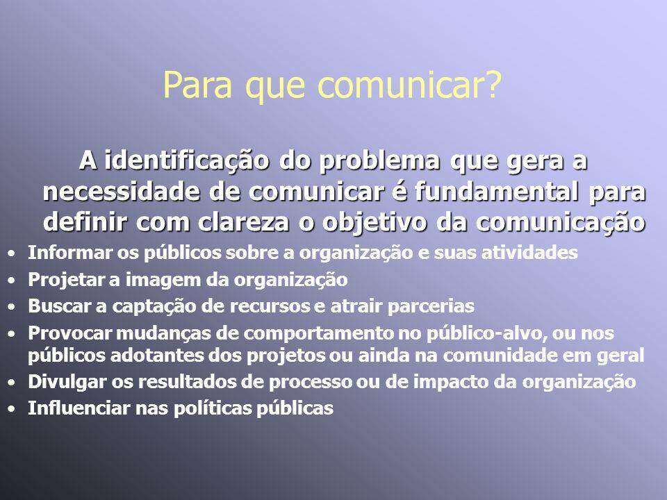 Para que comunicar? A identificação do problema que gera a necessidade de comunicar é fundamental para definir com clareza o objetivo da comunicação I