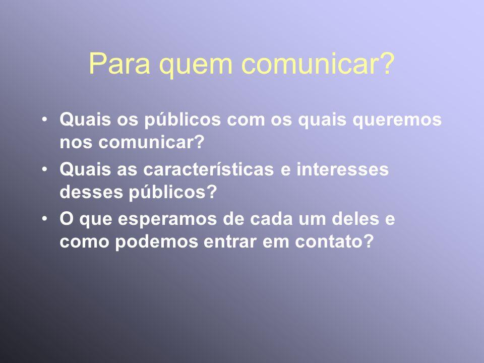 Para quem comunicar? Quais os públicos com os quais queremos nos comunicar? Quais as características e interesses desses públicos? O que esperamos de