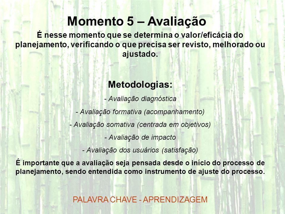 Momento 5 – Avaliação É nesse momento que se determina o valor/eficácia do planejamento, verificando o que precisa ser revisto, melhorado ou ajustado.