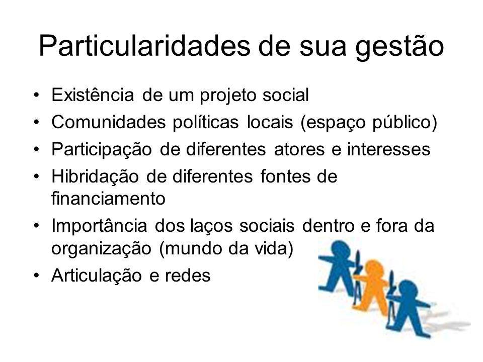 Particularidades de sua gestão Existência de um projeto social Comunidades políticas locais (espaço público) Participação de diferentes atores e inter