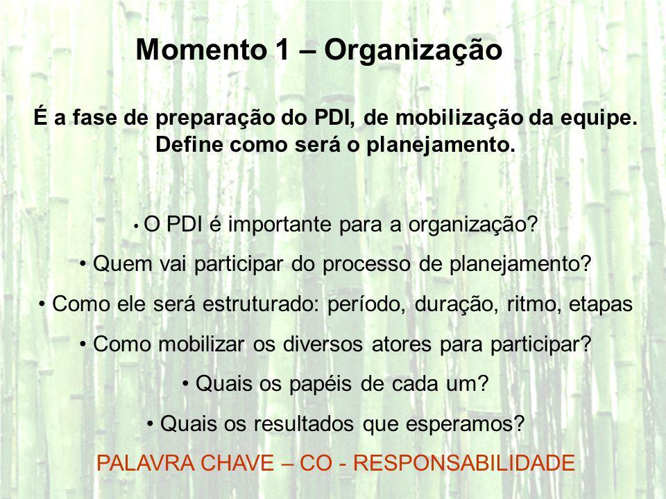Momento 1 – Organização É a fase de preparação do PDI, de mobilização da equipe. Define como será o planejamento. O PDI é importante para a organizaçã