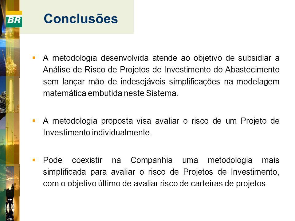 A metodologia desenvolvida atende ao objetivo de subsidiar a Análise de Risco de Projetos de Investimento do Abastecimento sem lançar mão de indesejáv