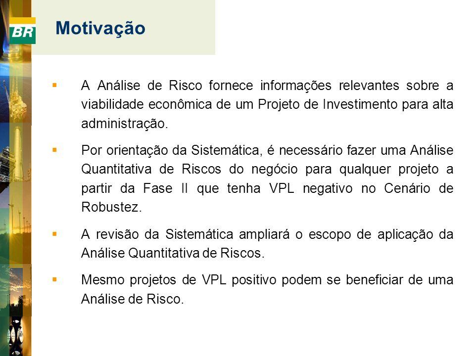 Motivação A Análise de Risco fornece informações relevantes sobre a viabilidade econômica de um Projeto de Investimento para alta administração. Por o