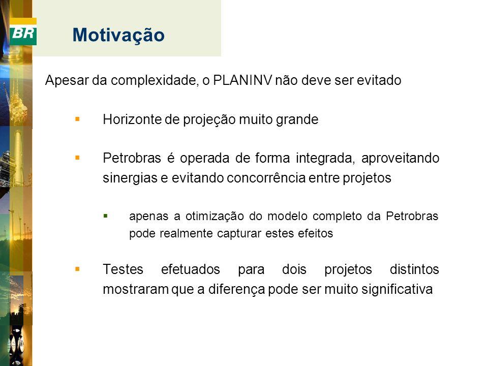 Motivação Apesar da complexidade, o PLANINV não deve ser evitado Horizonte de projeção muito grande Petrobras é operada de forma integrada, aproveitan