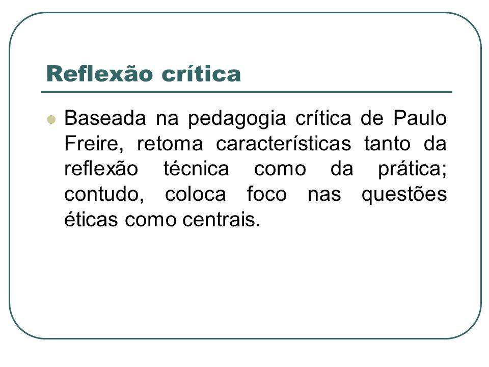 Reflexão crítica Baseada na pedagogia crítica de Paulo Freire, retoma características tanto da reflexão técnica como da prática; contudo, coloca foco