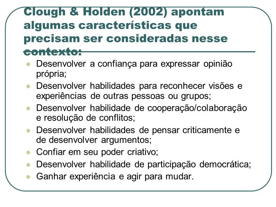 Clough & Holden (2002) apontam algumas características que precisam ser consideradas nesse contexto: Desenvolver a confiança para expressar opinião pr
