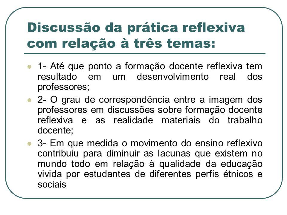 Discussão da prática reflexiva com relação à três temas: 1- Até que ponto a formação docente reflexiva tem resultado em um desenvolvimento real dos pr