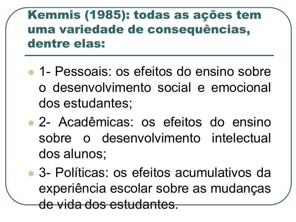 Kemmis (1985): todas as ações tem uma variedade de consequências, dentre elas: 1- Pessoais: os efeitos do ensino sobre o desenvolvimento social e emoc