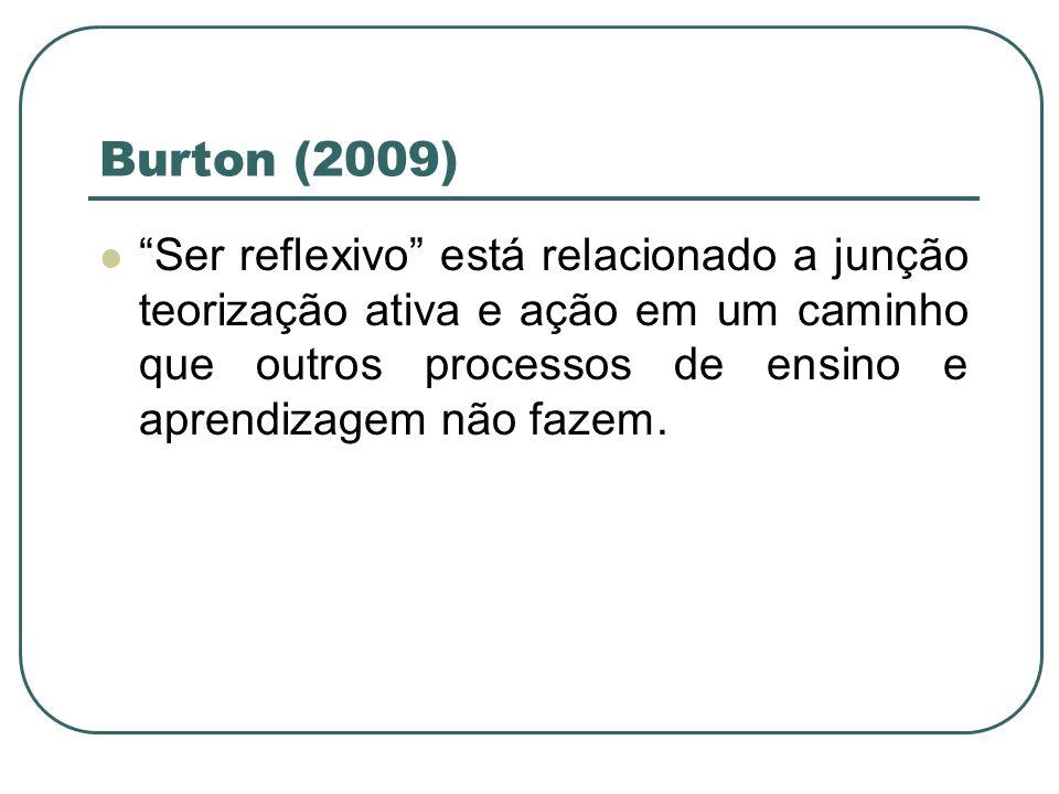 Burton (2009) Ser reflexivo está relacionado a junção teorização ativa e ação em um caminho que outros processos de ensino e aprendizagem não fazem.