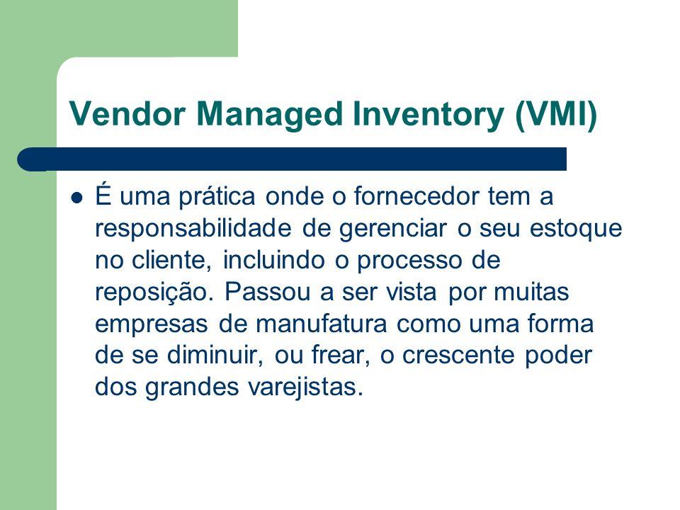 Vendor Managed Inventory (VMI) É uma prática onde o fornecedor tem a responsabilidade de gerenciar o seu estoque no cliente, incluindo o processo de r