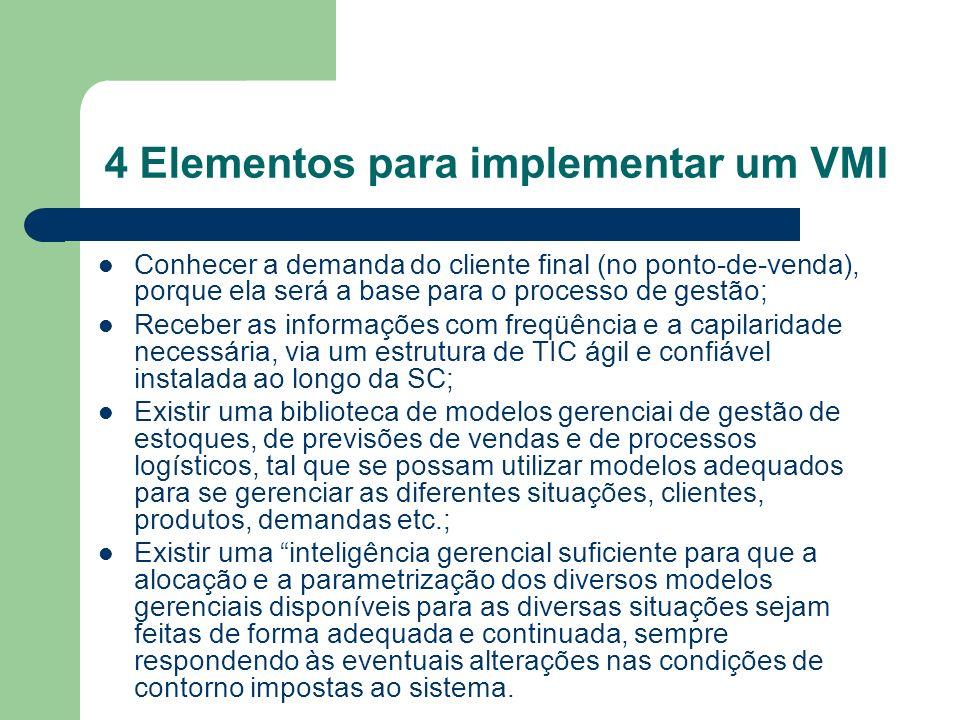 4 Elementos para implementar um VMI Conhecer a demanda do cliente final (no ponto-de-venda), porque ela será a base para o processo de gestão; Receber