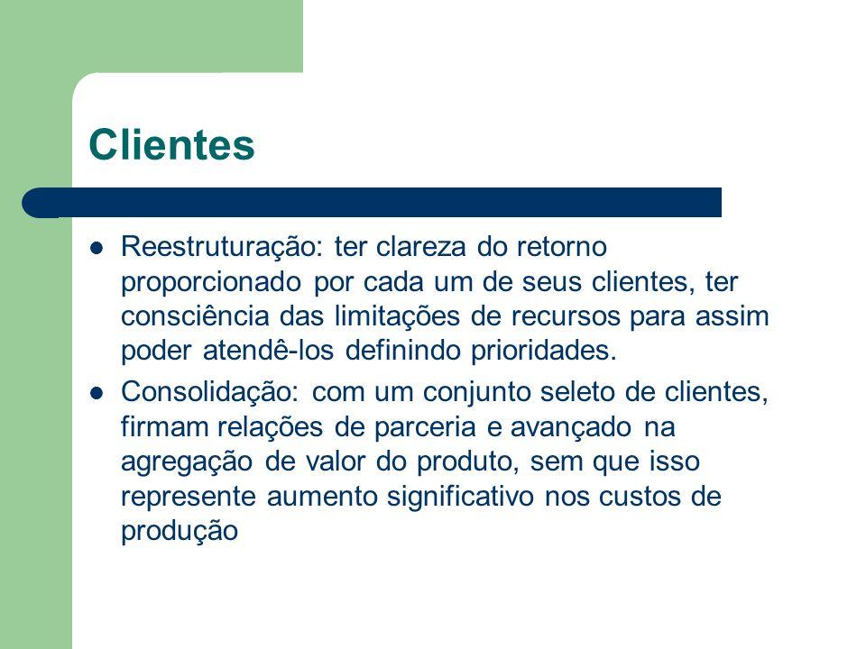 Clientes Reestruturação: ter clareza do retorno proporcionado por cada um de seus clientes, ter consciência das limitações de recursos para assim pode