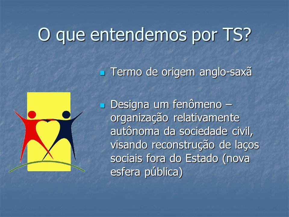 O que entendemos por TS? Termo de origem anglo-saxã Termo de origem anglo-saxã Designa um fenômeno – organização relativamente autônoma da sociedade c