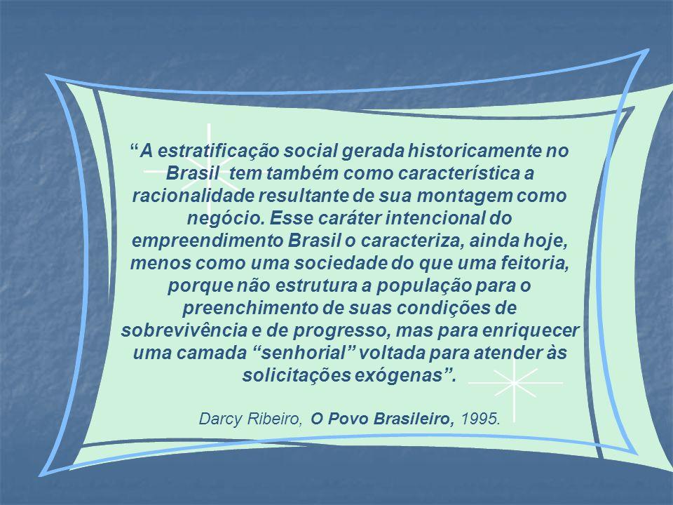 A estratificação social gerada historicamente no Brasil tem também como característica a racionalidade resultante de sua montagem como negócio. Esse c