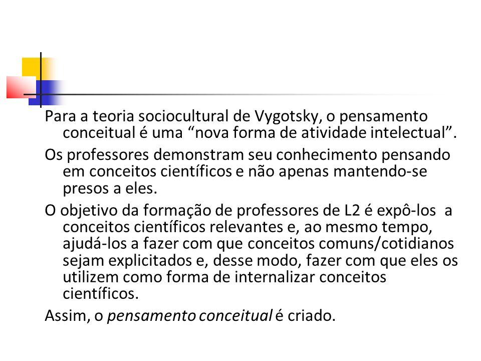 Para a teoria sociocultural de Vygotsky, o pensamento conceitual é uma nova forma de atividade intelectual.