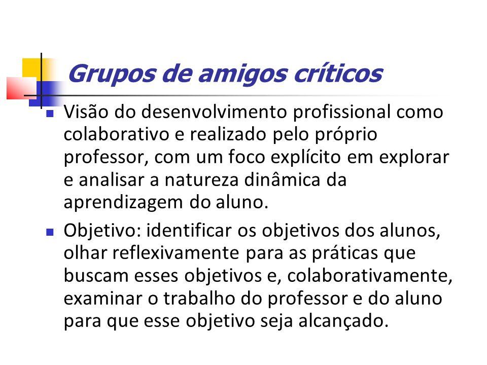 Grupos de amigos críticos Visão do desenvolvimento profissional como colaborativo e realizado pelo próprio professor, com um foco explícito em explorar e analisar a natureza dinâmica da aprendizagem do aluno.