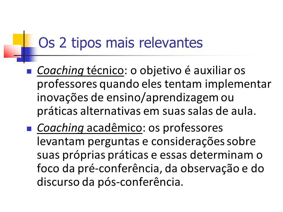 Os 2 tipos mais relevantes Coaching técnico: o objetivo é auxiliar os professores quando eles tentam implementar inovações de ensino/aprendizagem ou práticas alternativas em suas salas de aula.