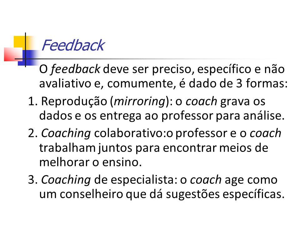 Feedback O feedback deve ser preciso, específico e não avaliativo e, comumente, é dado de 3 formas: 1.