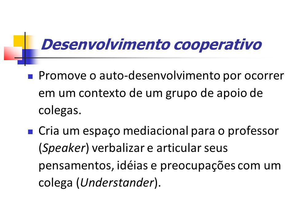 Desenvolvimento cooperativo Promove o auto-desenvolvimento por ocorrer em um contexto de um grupo de apoio de colegas.