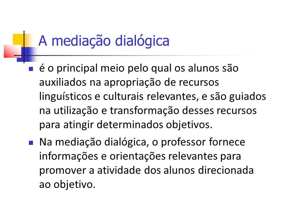 A mediação dialógica é o principal meio pelo qual os alunos são auxiliados na apropriação de recursos linguísticos e culturais relevantes, e são guiados na utilização e transformação desses recursos para atingir determinados objetivos.