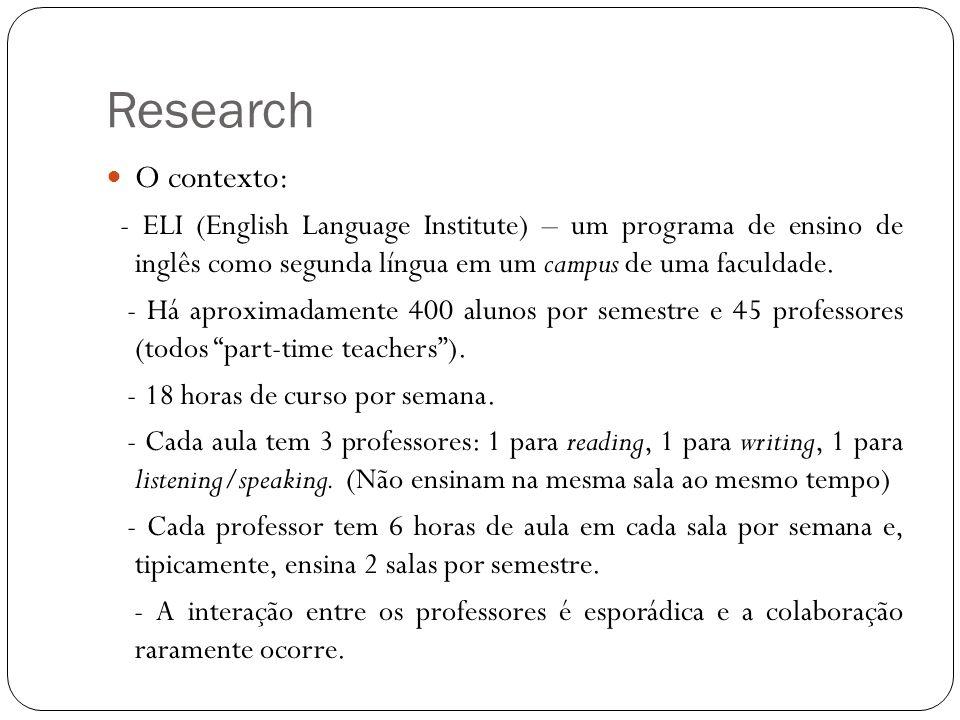 Research O contexto: - ELI (English Language Institute) – um programa de ensino de inglês como segunda língua em um campus de uma faculdade. - Há apro