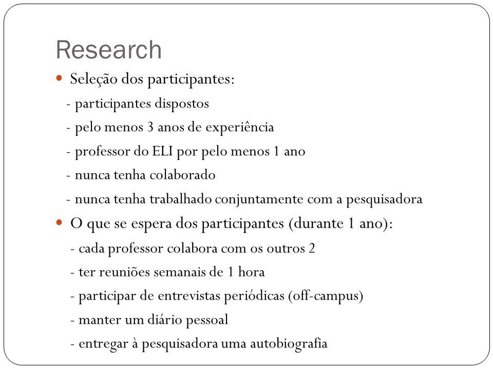Research Seleção dos participantes: - participantes dispostos - pelo menos 3 anos de experiência - professor do ELI por pelo menos 1 ano - nunca tenha