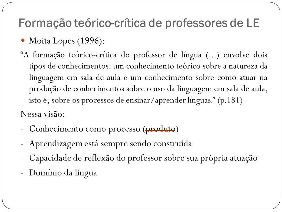 Formação teórico-crítica de professores de LE Moita Lopes (1996): A formação teórico-crítica do professor de língua (...) envolve dois tipos de conhec