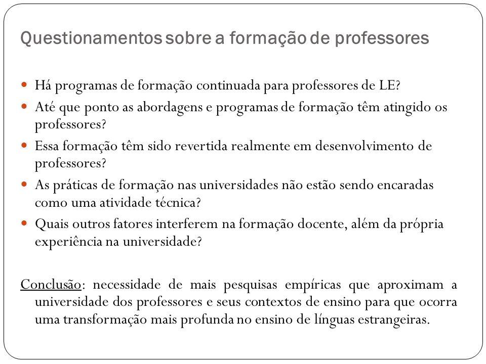 Questionamentos sobre a formação de professores Há programas de formação continuada para professores de LE? Até que ponto as abordagens e programas de