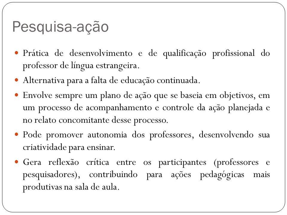 Pesquisa-ação Prática de desenvolvimento e de qualificação profissional do professor de língua estrangeira. Alternativa para a falta de educação conti