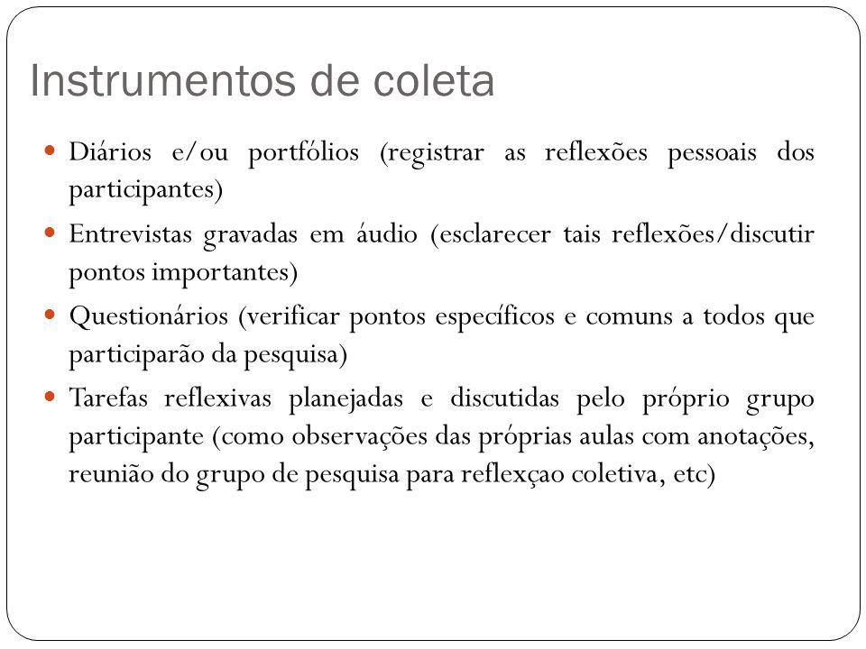 Instrumentos de coleta Diários e/ou portfólios (registrar as reflexões pessoais dos participantes) Entrevistas gravadas em áudio (esclarecer tais refl