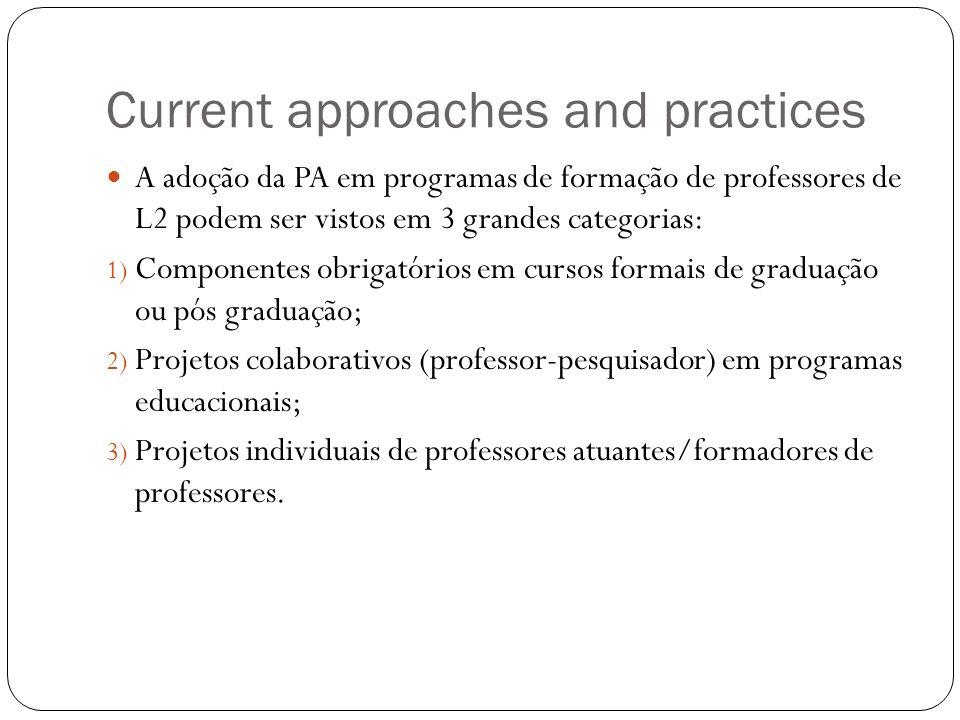 Current approaches and practices A adoção da PA em programas de formação de professores de L2 podem ser vistos em 3 grandes categorias: 1) Componentes