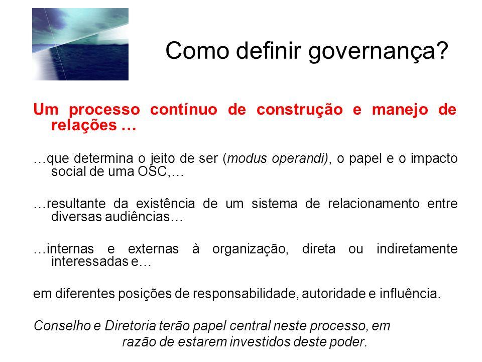 Como definir governança? Um processo contínuo de construção e manejo de relações … …que determina o jeito de ser (modus operandi), o papel e o impacto
