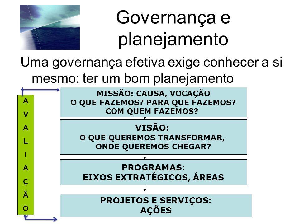 Governança e planejamento Uma governança efetiva exige conhecer a si mesmo: ter um bom planejamento Carolina Andion MISSÃO: CAUSA, VOCAÇÃO O QUE FAZEM