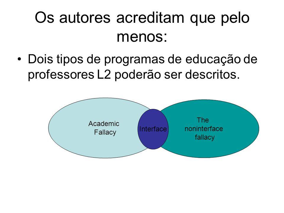 Os autores acreditam que pelo menos: Dois tipos de programas de educação de professores L2 poderão ser descritos. Academic Fallacy The noninterface fa
