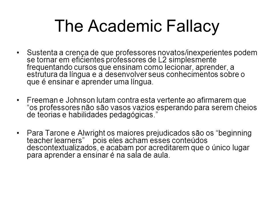 The Academic Fallacy Sustenta a crença de que professores novatos/inexperientes podem se tornar em eficientes professores de L2 simplesmente frequenta