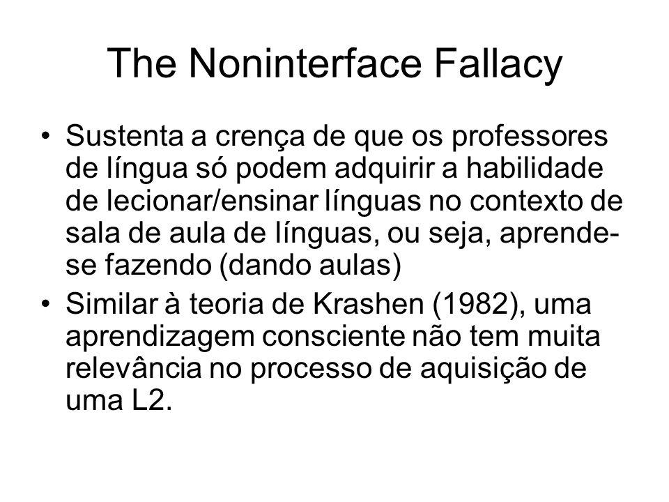 The Noninterface Fallacy Sustenta a crença de que os professores de língua só podem adquirir a habilidade de lecionar/ensinar línguas no contexto de s